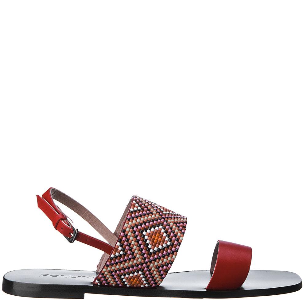 Красные сандалии Pollini с декором-бисером