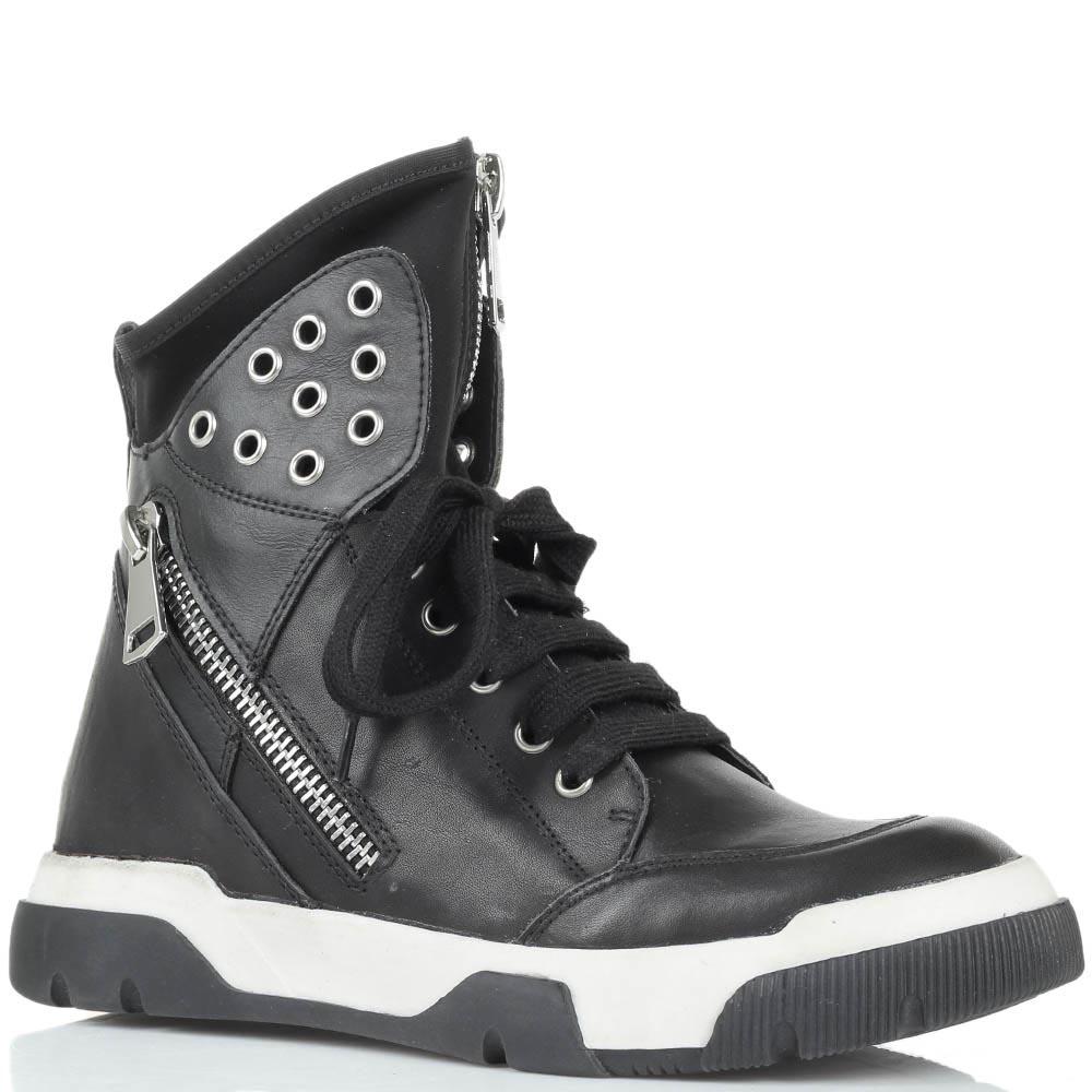Высокие кожаные кеды черного цвета Studio Italia с металлическим декором