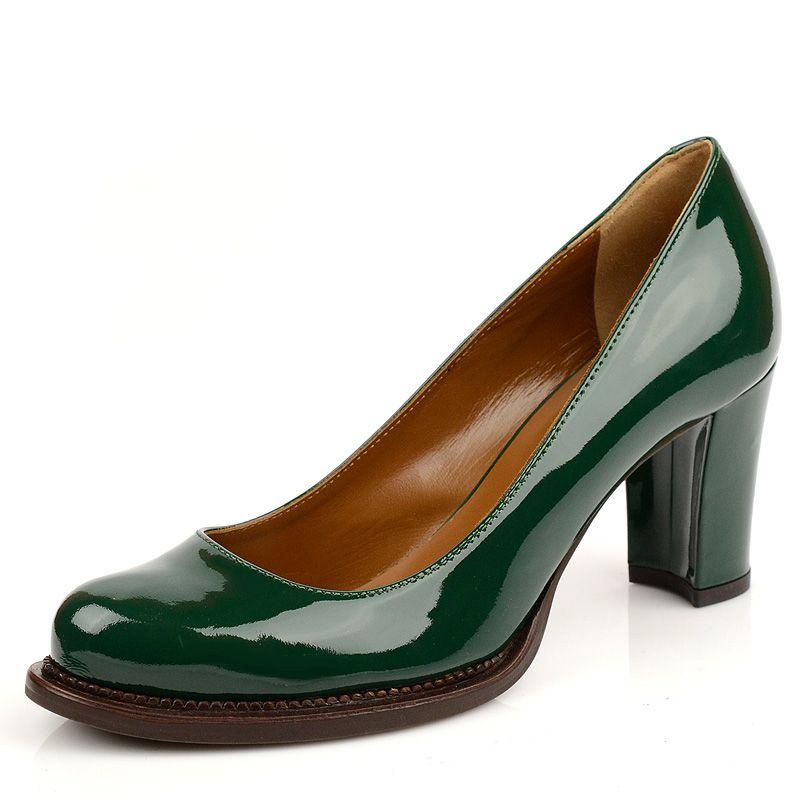 Лакированые зеленые туфли Studio Pollini