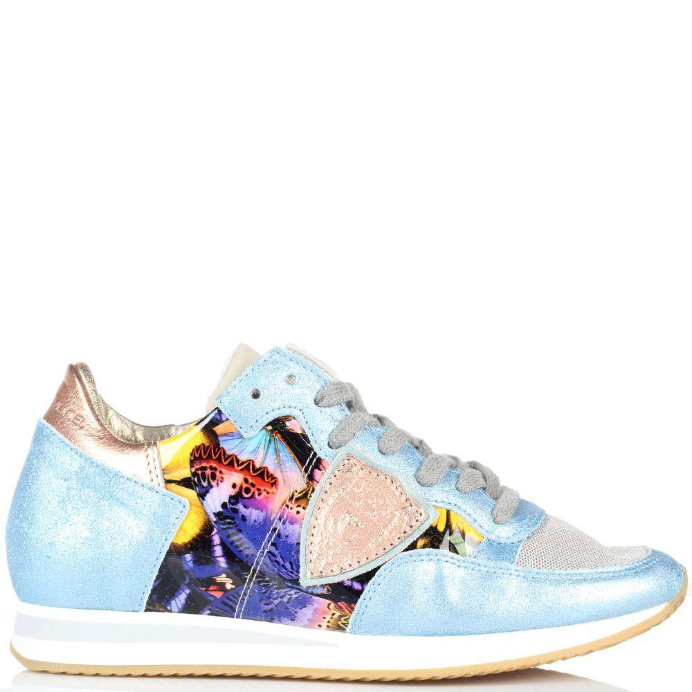 Кроссовки из кожи голубого цвета и текстиля Philippe Model