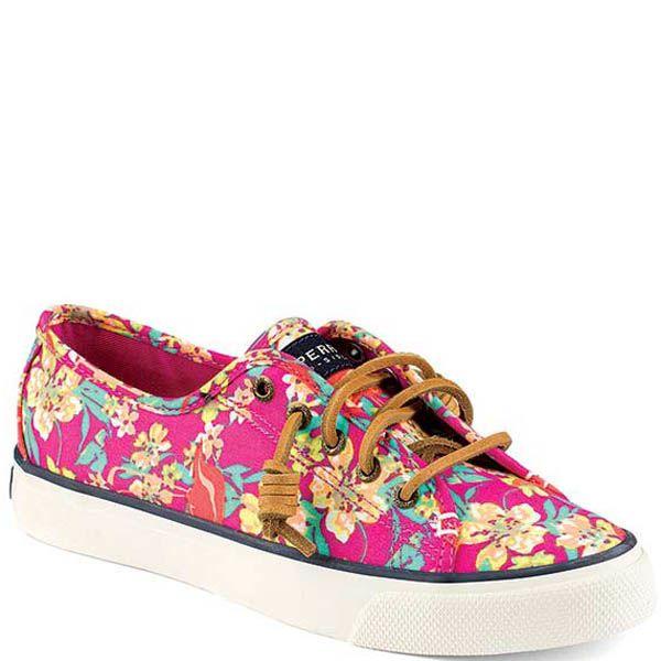 Кеды Sperry женские с цветочным принтом и кожаными шнурками