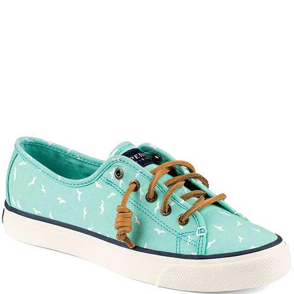 Кеды Sperry женские мятного цвета и кожаными шнурками