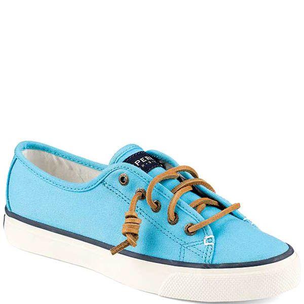 Кеды Sperry женские голубого цвета с кожаными шнурками