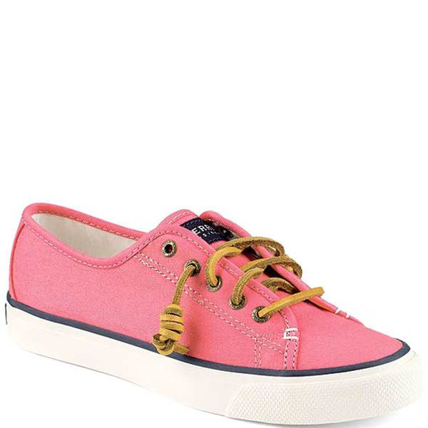 Кеды Sperry женские розового цвета с кожаными шнурками