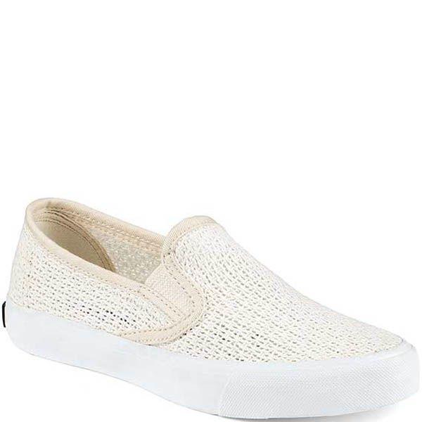 Слипоны Sperry женские плетеные белого цвета