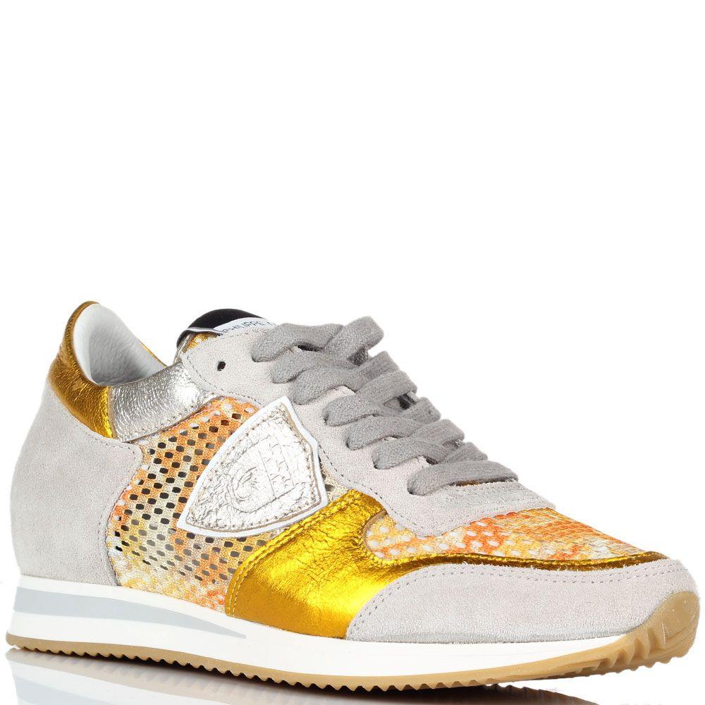 Кожаные кроссовки со вставками из сетчатого полотна Philippe Model золотистого цвета
