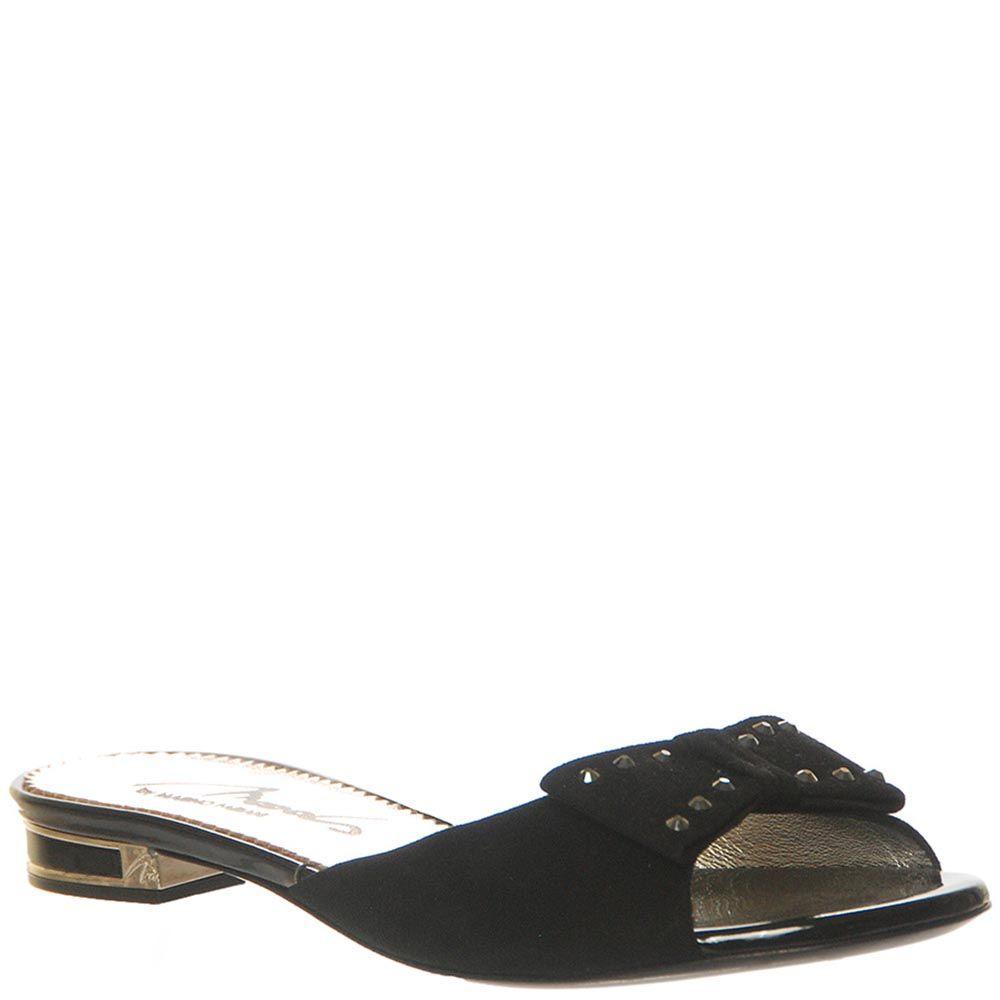 Сланцы Marino Fabiani черного цвета с бантиком на носочке