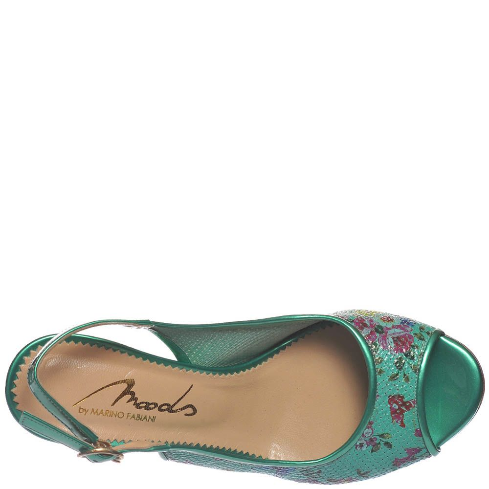 Босоножки Marino Fabiani изумрудного цвета на среднем каблуке