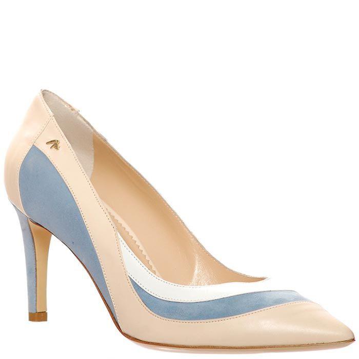 Туфли Marino Fabiani из натуральной кожи бежево-голубые