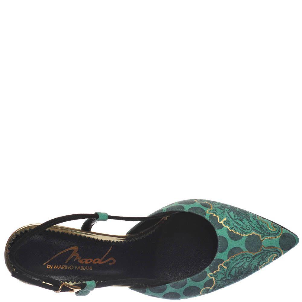 Босоножки Marino Fabiani изумрудного цвета с закрытым носочком