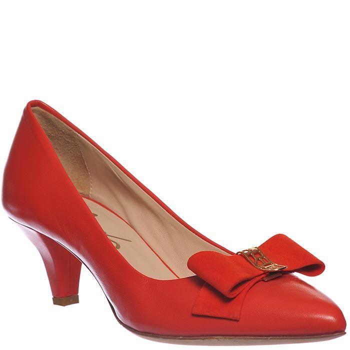 Туфли Marino Fabiani красного цвета с декором-бантиком