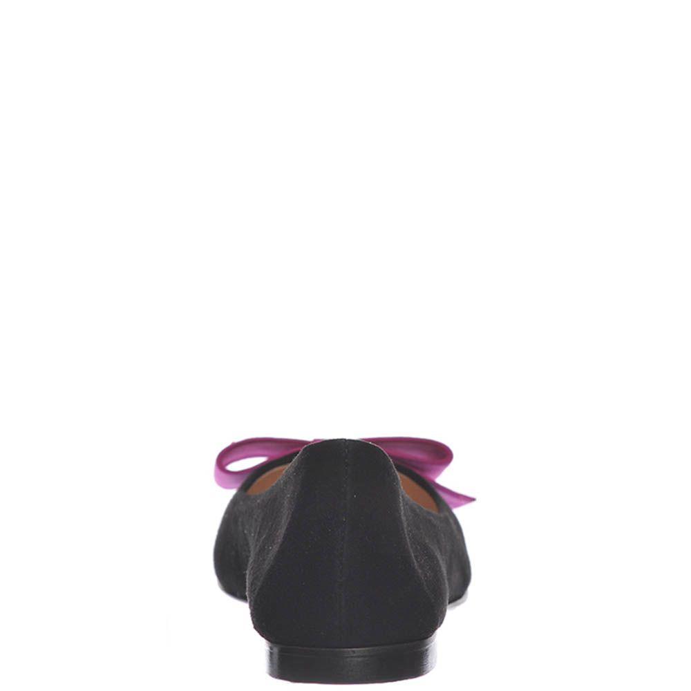 Замшевые балетки Marino Fabiani черного цвета с бантом цвета фуксии