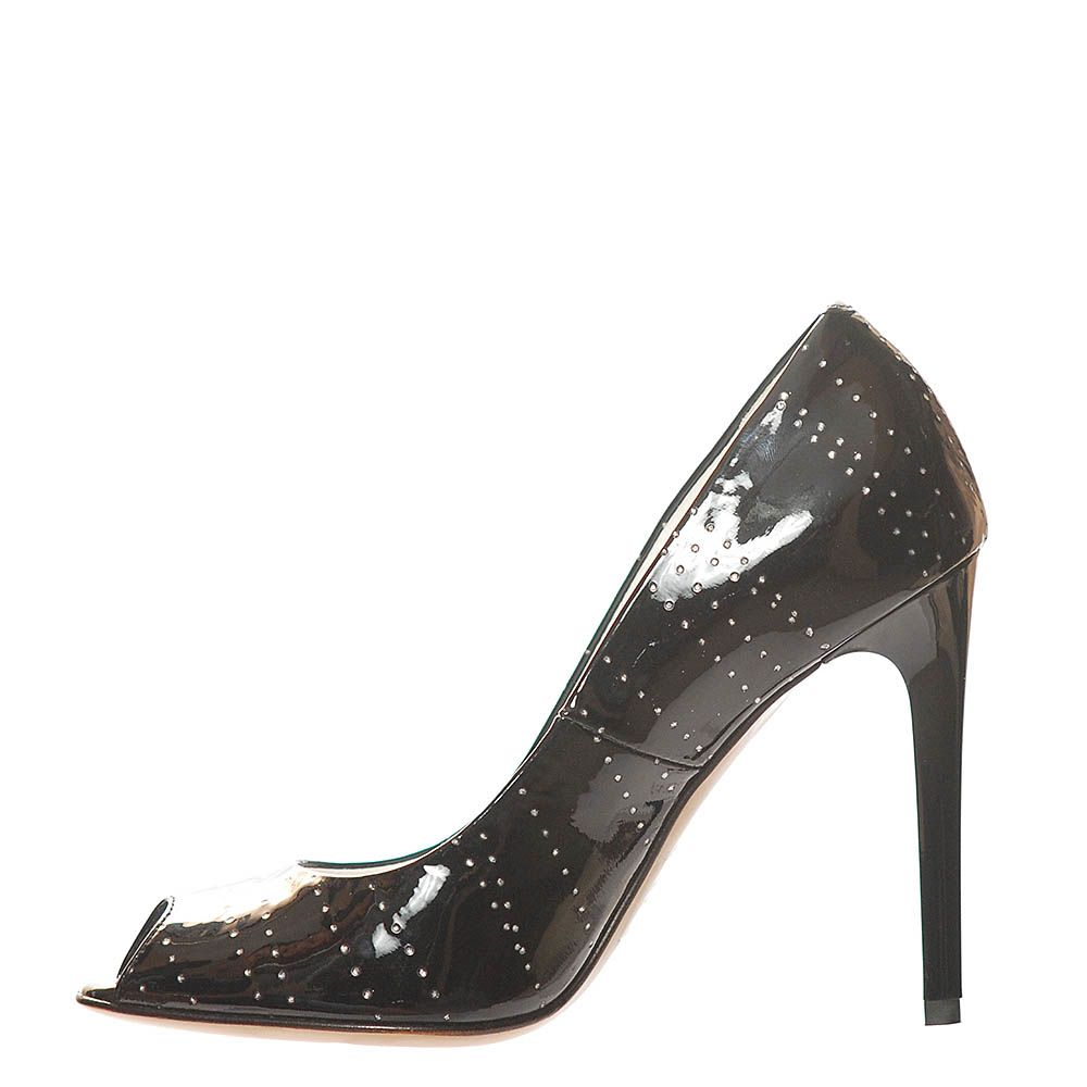 Туфли Marino Fabiani из кожи лаковые черного цвета с открытым носочком