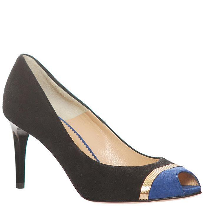 Туфли Marino Fabiani из натуральной кожи черно-синие с открытым носочком