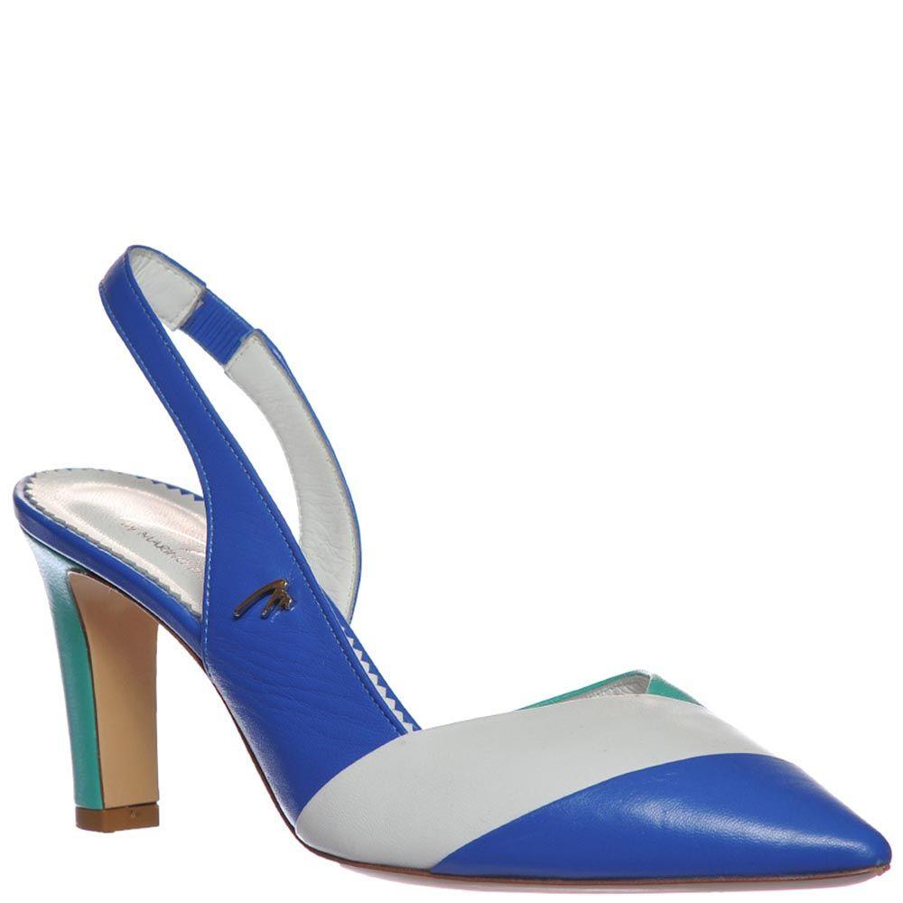 Босоножки Marino Fabiani из кожи синего цвета с белой полоской на носочке