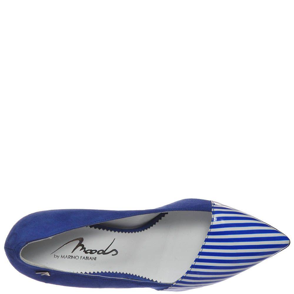 Кожаные туфли Marino Fabiani синего цвета с полосатым носочком