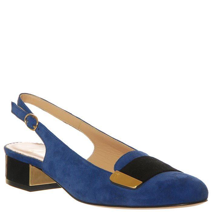 Замшевые босоножки Marino Fabiani синего цвета с закрытым носком