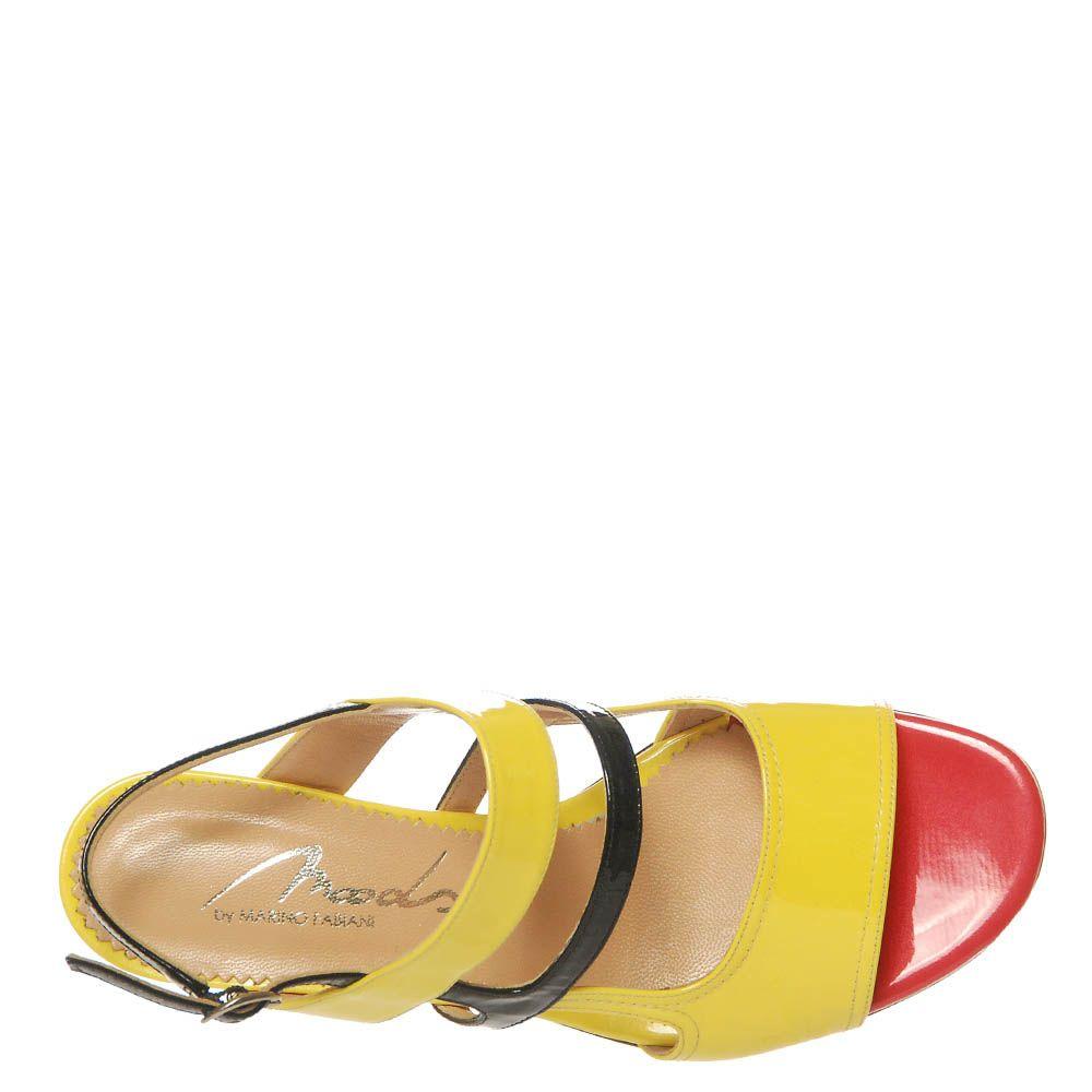Босоножки Marino Fabiani из натуральной кожи лаковые желтого цвета