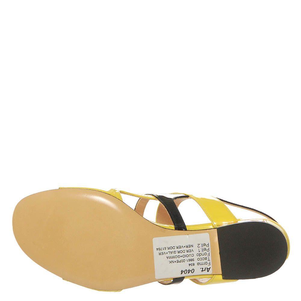 Босоножки Marino Fabiani из кожи лаковые желтого цвета