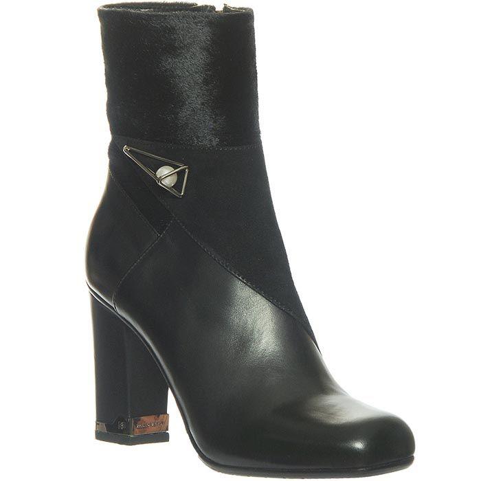 Кожаные ботинки Marino Fabiani черного цвета с высоким коблуком