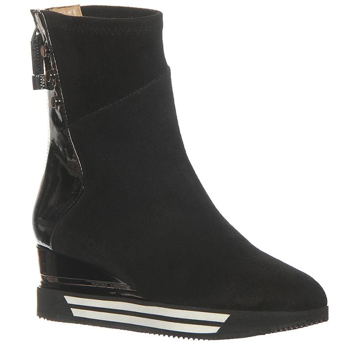 Ботинки Marino Fabiani из кожи черного цвета на танкетке