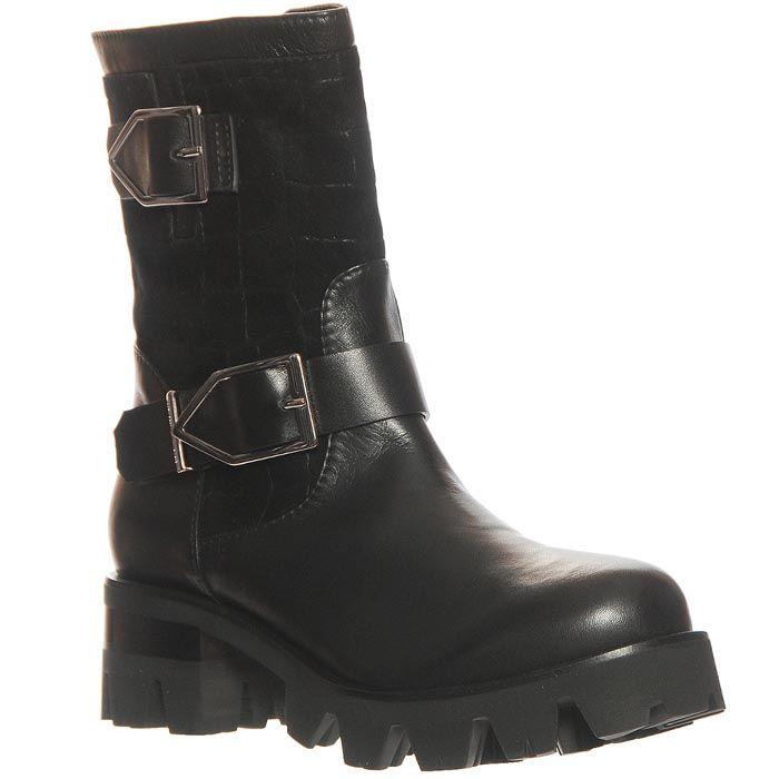 Ботинки Marino Fabiani из натуральной кожи черного цвета на устойчивом каблуке