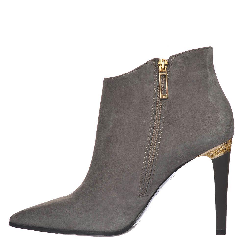 Замшевые ботинки Marino Fabiani серого цвета на высоком каблуке