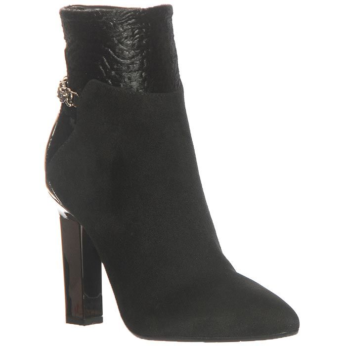Замшевые ботинки Marino Fabiani чеерного цвета на высоком каблуке