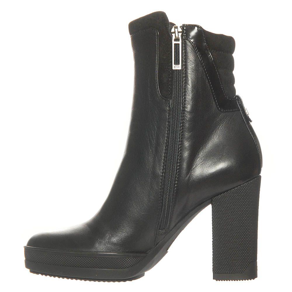 Кожаные демисезонные ботинки Marino Fabiani черного цвета на высоком каблуке