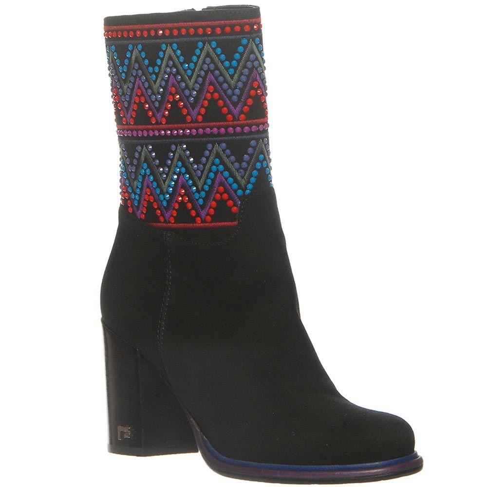 Замшевые демисезонные ботинки Marino Fabiani черного цвета с устойчивым каблуком