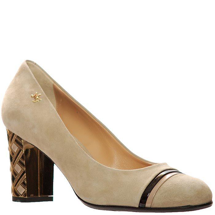 Замшевые туфли Marino Fabiani бежевого цвета на каблуке