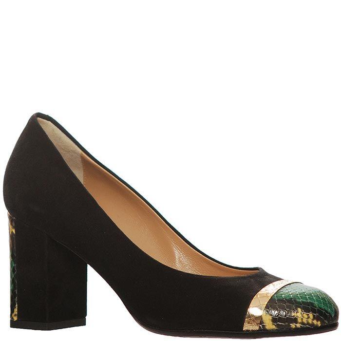 Замшевые туфли Marino Fabiani черно-зеленые