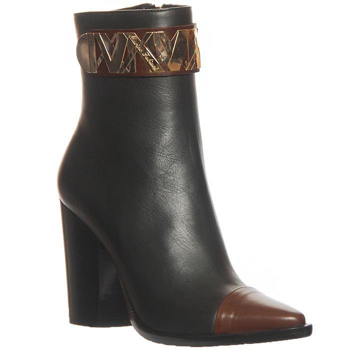 Ботинки Marino Fabiani из натуральной кожи черного цвета с коричневым носком