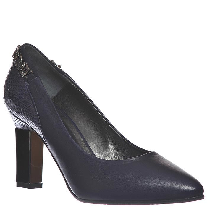 Кожаные туфли Marino Fabiani темно-синие с тисненой пяточкой