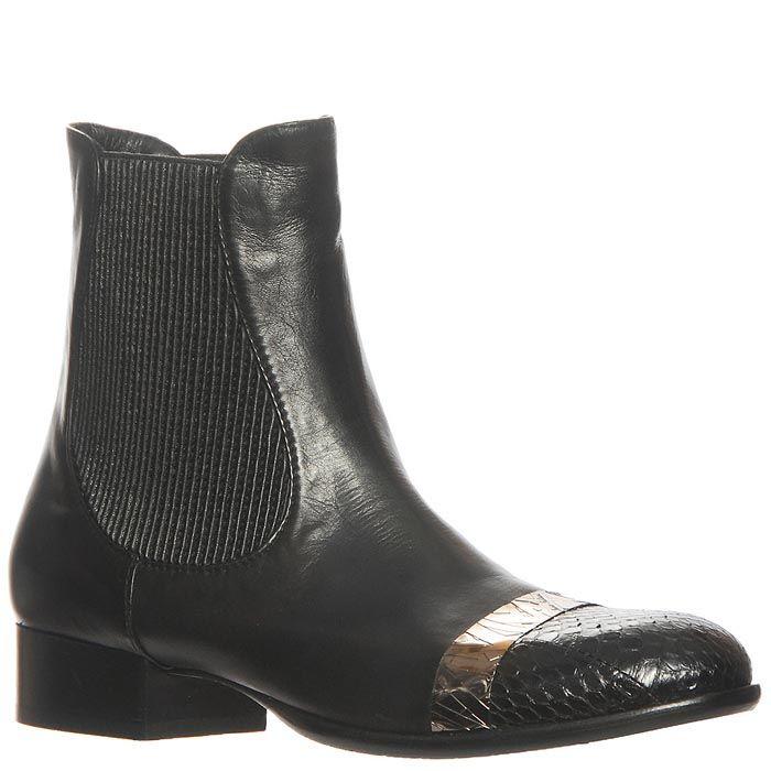 Ботинки Marino Fabiani из натуральной кожи черного цвета с низким каблуком