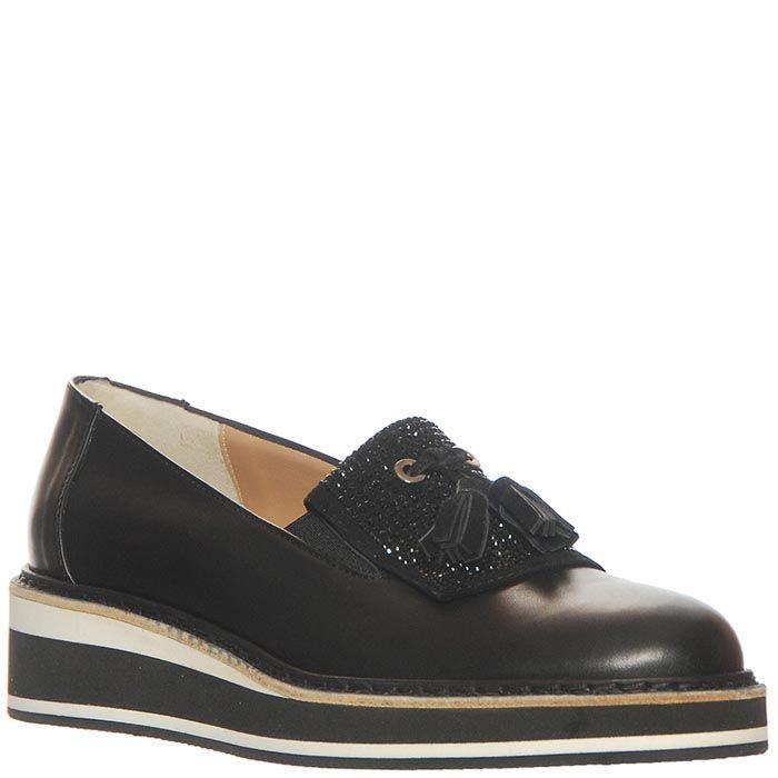 Туфли Marino Fabiani из натуральной кожи черного цвета на танкетке