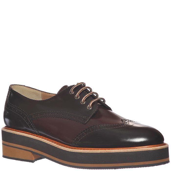 Кожаные туфли-броги Marino Fabiani темно-бордового цвета