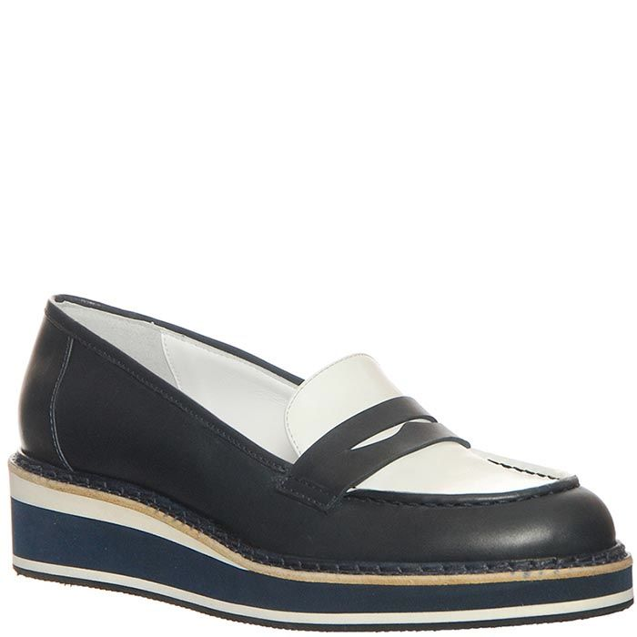 Туфли Marino Fabiani из натуральной кожи бело-черные на танкетке