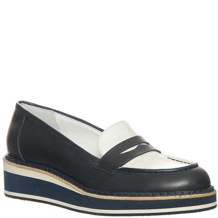 Туфли Marino Fabiani из кожи бело-черные на танкетке