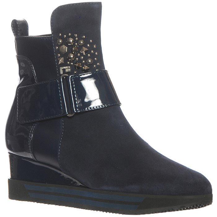 Кожаные ботинки Marino Fabiani синего цвета на танкетке