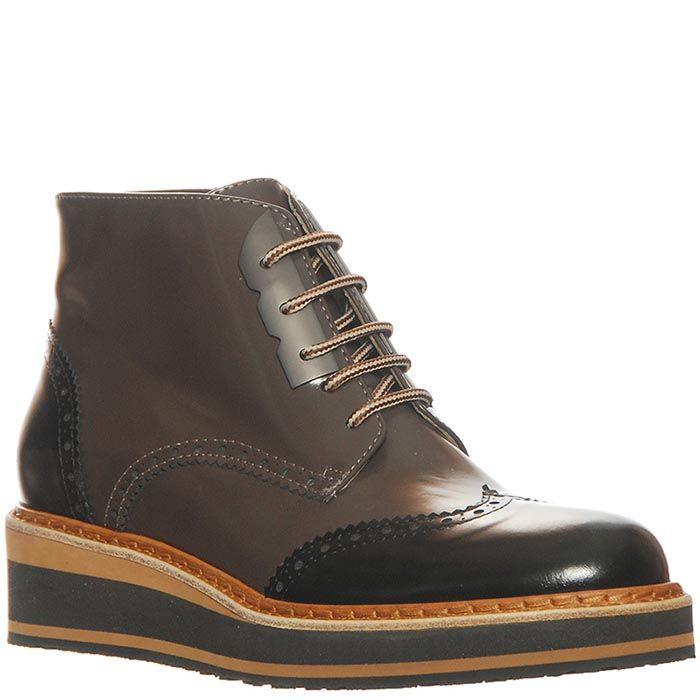 Кожаные ботинки Marino Fabiani черно-коричневые на шнуровке и на молнии