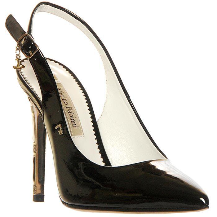 Кожаные босоножки Marino Fabiani черного цвета с открытой пяткой
