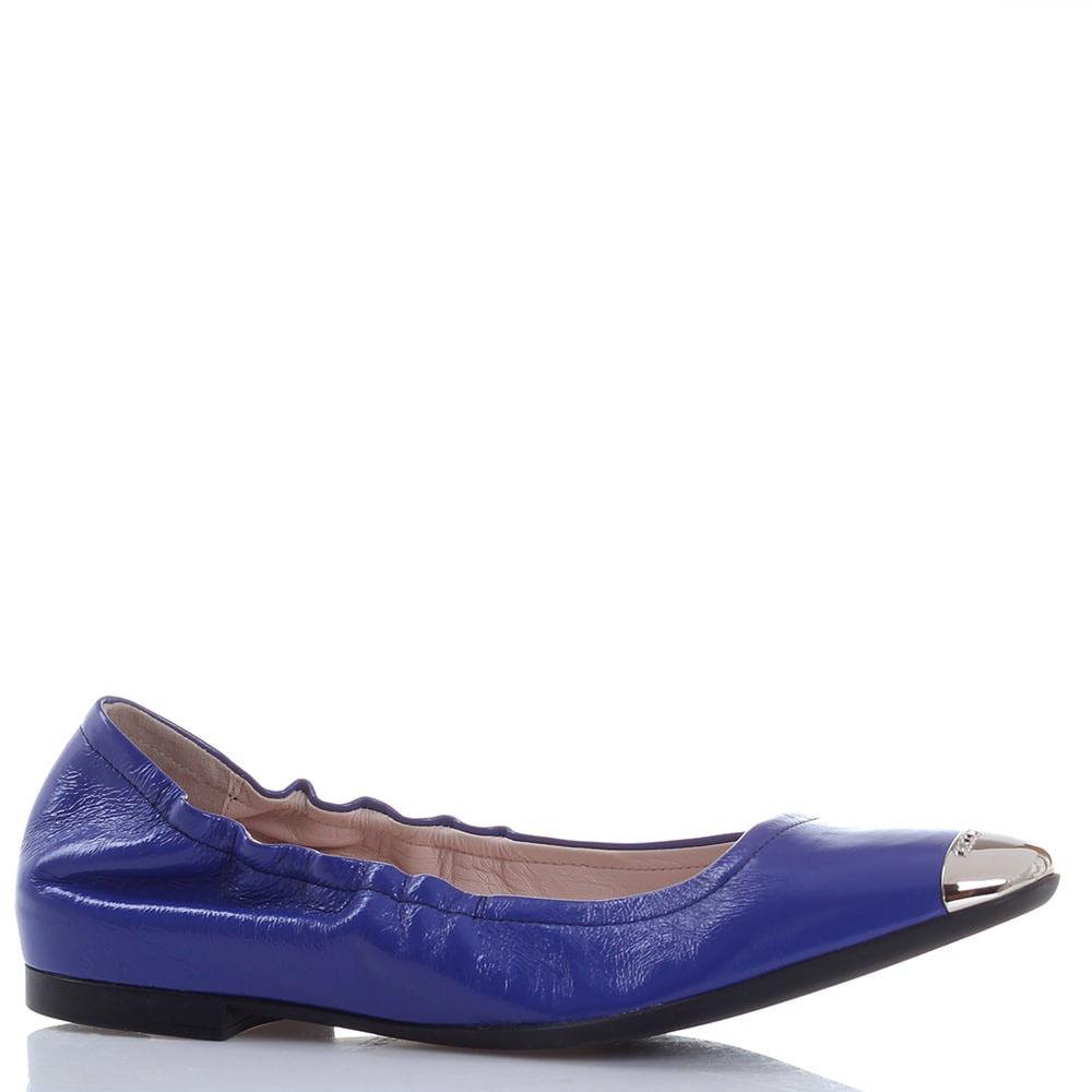 Синие кожаные балетки Bally с мягкой пяточкой и металлическим носочком
