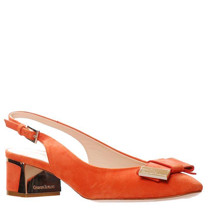 Замшевые туфли Giorgio Fabiani ярко-кораллового цвета с открытой пяточкой