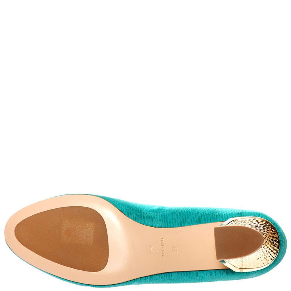 Туфли Giorgio Fabiani ярко-бирюзового цвета с золотистым каблуком