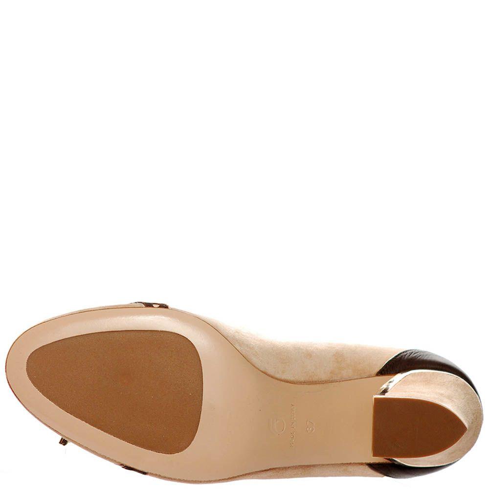 Замшевые туфли Giorgio Fabiani бежевого цвета со вставками из коричневой кожи