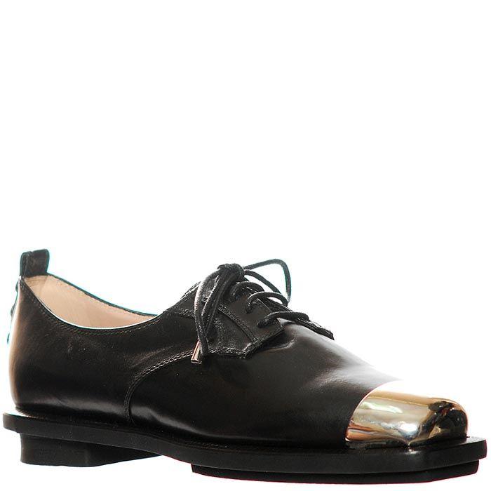 Кожаные туфли Giorgio Fabiani черного цвета с золотистым носком
