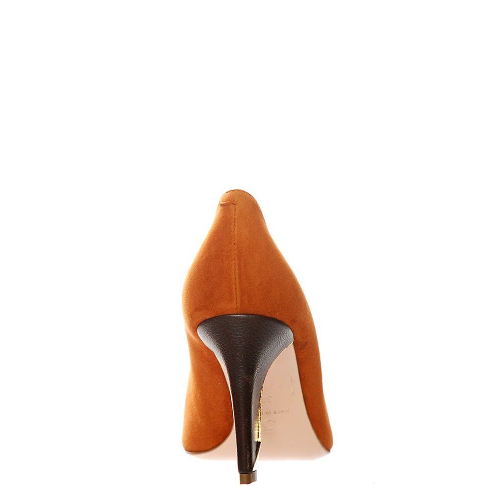 Замшевые туфли Giorgio Fabiani коричневого цвета на золотистом фигурном каблуке