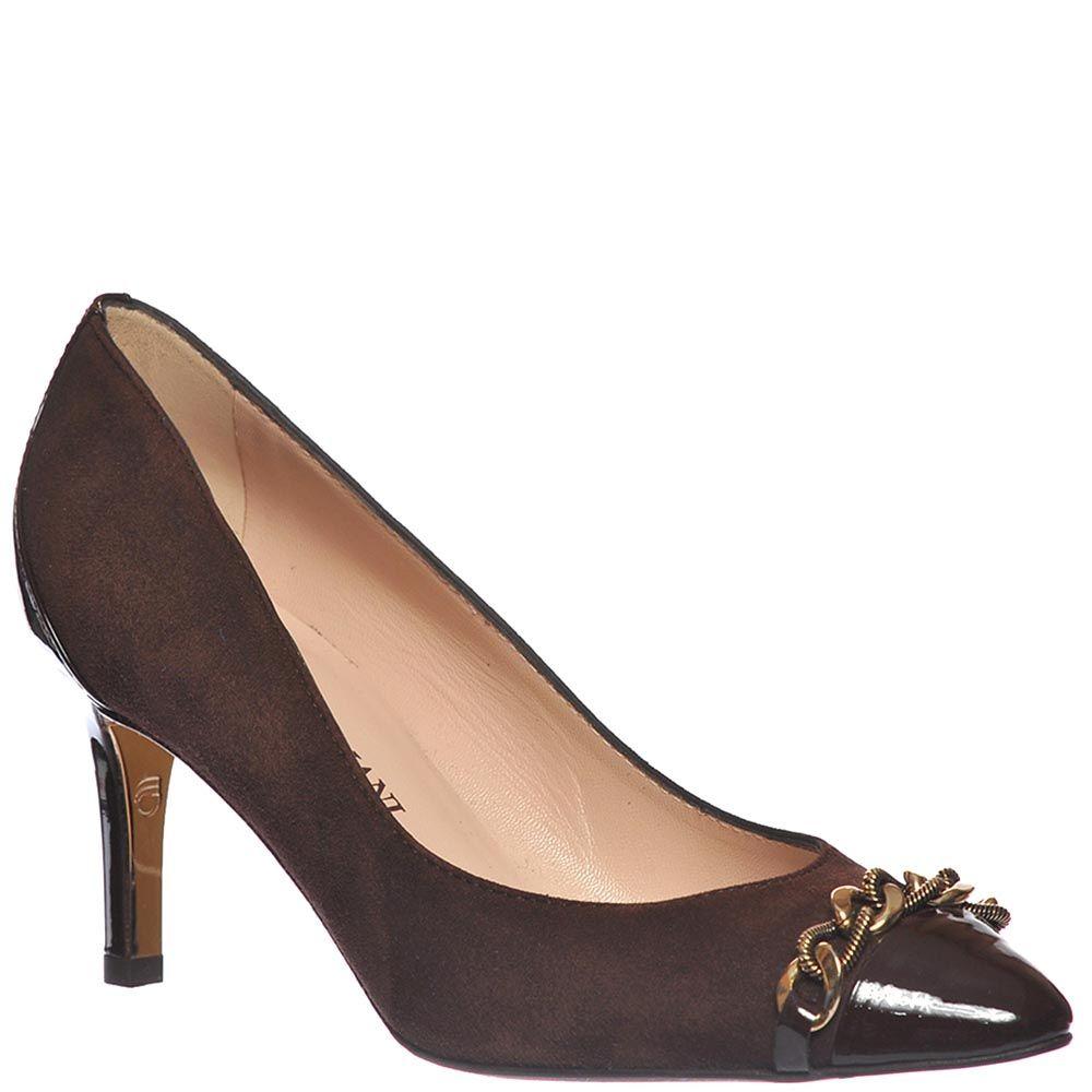 Замшевые туфли Giorgio Fabiani шоколадного цвета с лаковым носочком