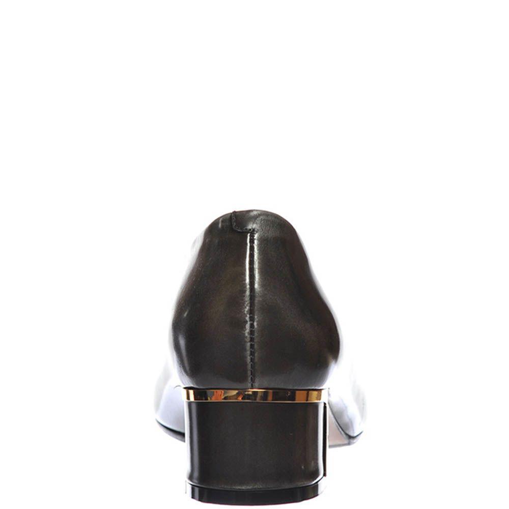 Туфли Giorgio Fabiani из полированной кожи графитного цвета с бантиком